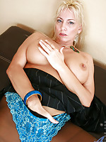 Classy blonde old woman feels hot and strips off her pantyhose to pleasure her experienced pussy